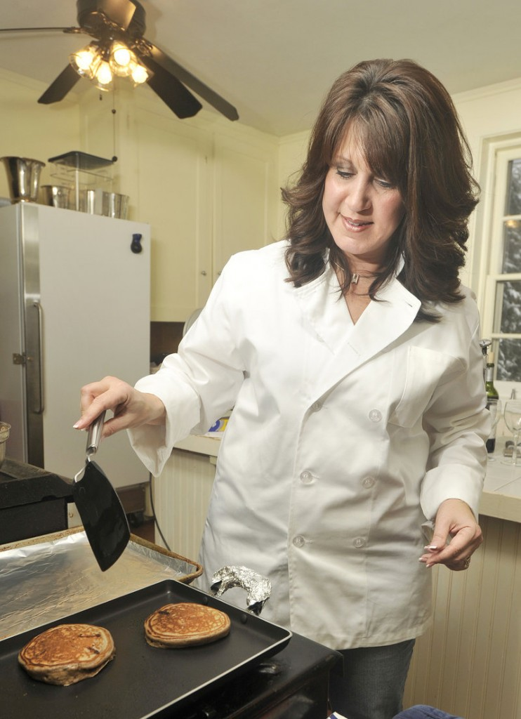 Dana Moos whips up a batch of her Chocolate Ricotta Pancakes.