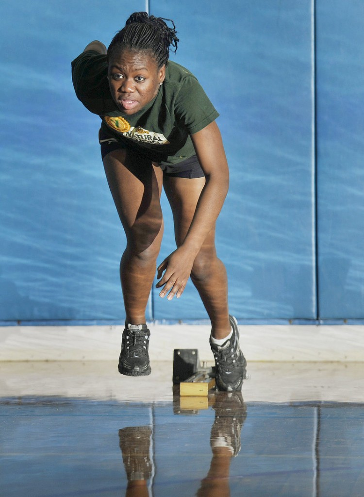 Mary Nyembo, a Portland High senior, has become one the top sprinters in Class A indoor track, putting up a season s best 5.4 seconds in winning the senior 40-yard dash last weekend.