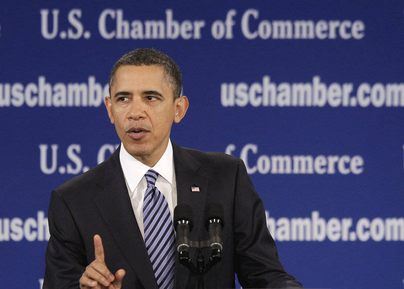 "President Obama speaks Monday at the U.S. Chamber of Commerce in Washington. ""As a government, we will help lay the foundation for you to grow and innovate,"" he said."