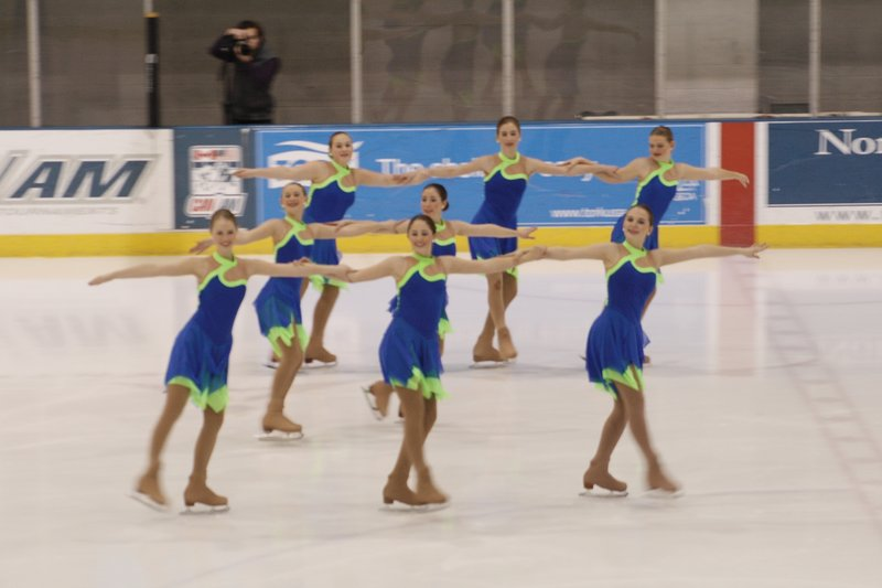 Members of the Nor'easters juvenile team from the North Atlantic Figure Skating Club perform during the U.S. Eastern Synchronized Skating Sectional Championships held this past week in Lake Placid, N.Y. The Nor'easters finished fourth.