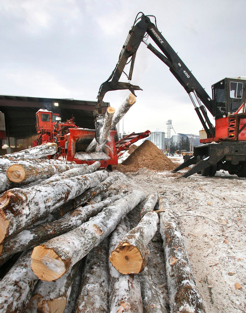 """A crane loads logs into a debarker at the Geneva Wood Fuels pellet plant in Strong, formerly the """"toothpick capital of the world."""""""