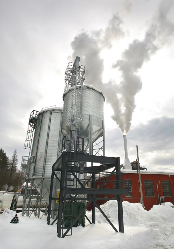 Wood pellets are stored in a new metal silo, capable of holding 300 tons, at Geneva Wood Fuels in Strong.