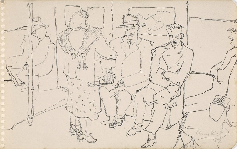 "Alex Katz, ""Subway Series,"" c. 1944–49, pen and ink on paper, 47⁄8 by 77⁄8 inches."