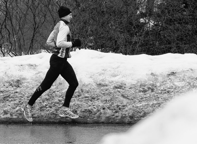 Alex McKinney of Canton, Mass., says training for the Boston Marathon this year includes the fear of injury because of the weather.