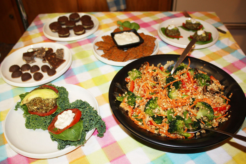 Some of Elizabeth Fraser's raw vegan dishes include cashew cilantro burgers, parsnip stir-fry, flaxseed crackers with cashew cheese, whoopie pies and carob candies.