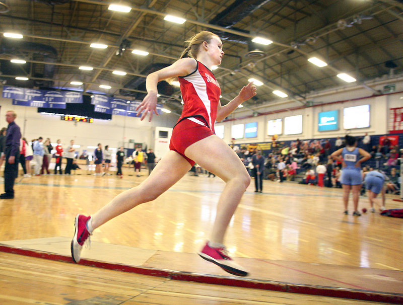 Emily Tolman of Scarborough rounds a turn on the way to winning the 600 open division race in 1:30.6.