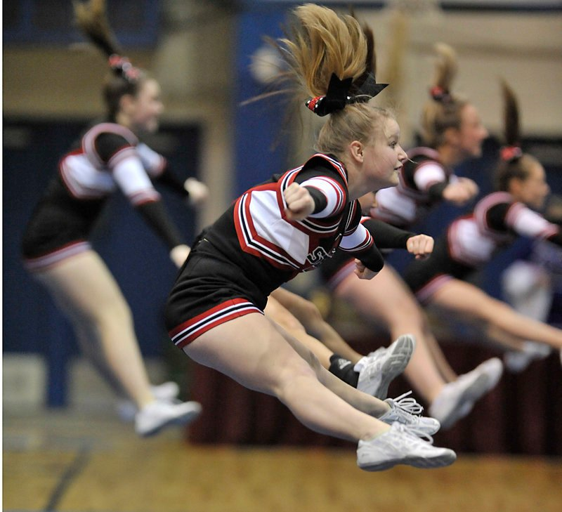 The Scarborough High cheerleaders compete in the state meet at Bangor. Eastern Maine dominated.