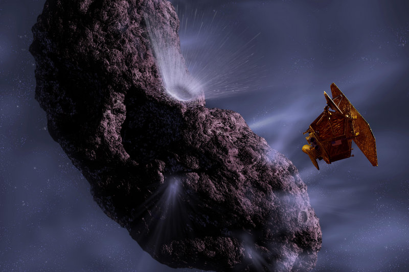 Artist's rendering shows the Deep Impact spacecraft's encounter with comet Tempel 1. The Stardust probe is expected to fly within 125 miles of the comet tonight.