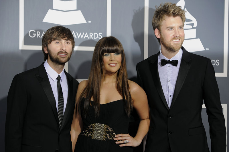 Lady Antebellum: Dave Haywood, left, Hilary Scott and Charles Kelley captured record and song of the year.