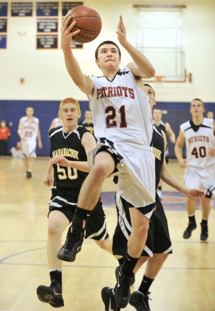 Ryan Cavallaro showed the value of an up-tempo offense for Gray-New Gloucester, breaking away for a layup Tuesday night against Maranacook.