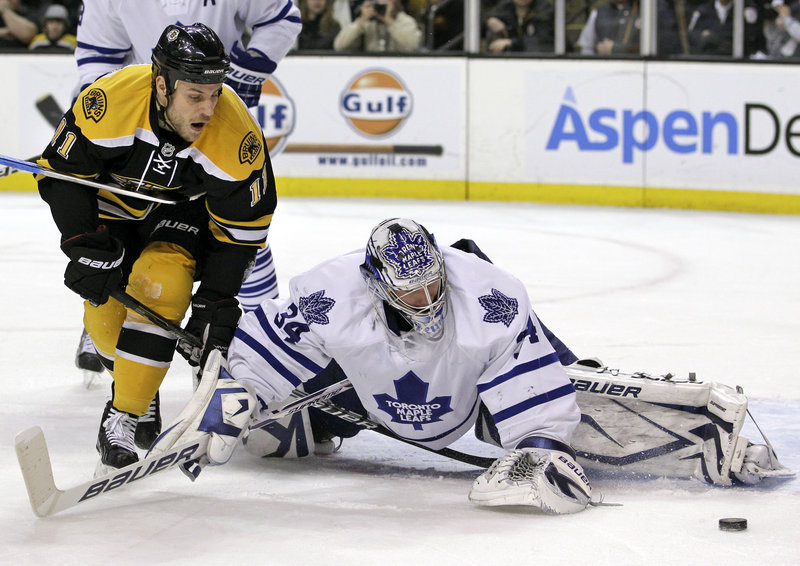 Toronto goalie James Reimer sprawls to deny a scoring chance by Bruins center Gregory Campbell during Tuesday night's game in Boston. Toronto rallied for a 4-3 win.