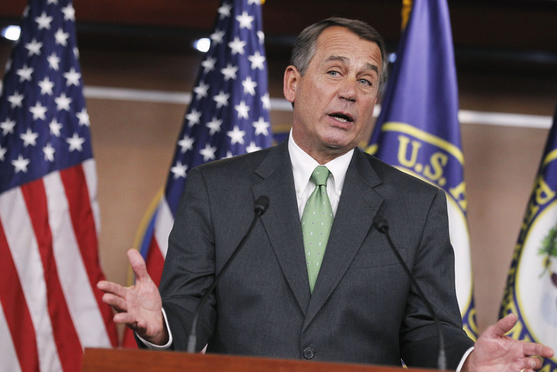 """A $61 billion package of reductions in spending could cost thousands of government employees their posts, but GOP leaders say the rollback is necessary and that the cuts in the final bill will be even greater. """"If some of those jobs are lost in this, so be it,"""" said House Speaker John Boehner, above, R-Ohio. """"We're broke."""""""