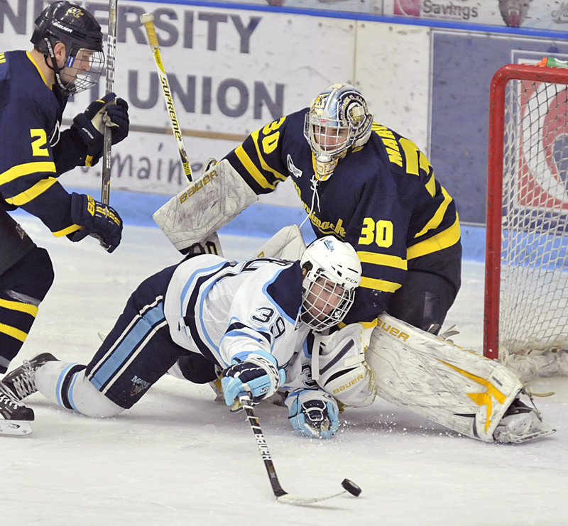 Joey Diamond of Maine lunges Friday night to try and sweep the puck past Merrimack goalie Sam Marotta after being knocked down by Fraser Allan in the third period of Maine's 4-0 victory at Orono. The Black Bears have three games remaining before the Hockey East tournament.
