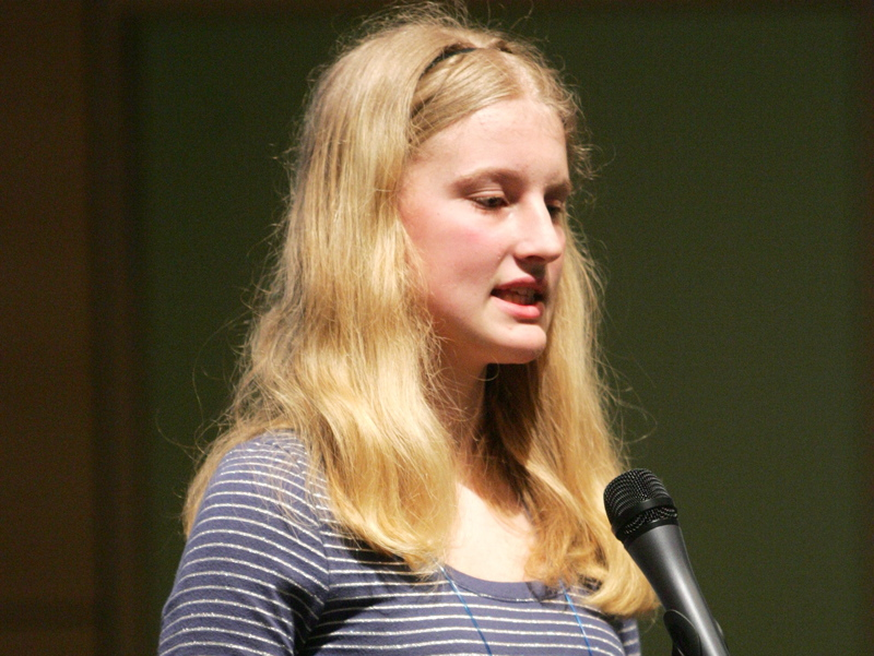 Cape Elizabeth eighth-grader Lily Jordan, the defending champ, represents Cumberland County on her way to victory in the Maine State Spelling Bee at USM's Hannaford Hall in Portland today.