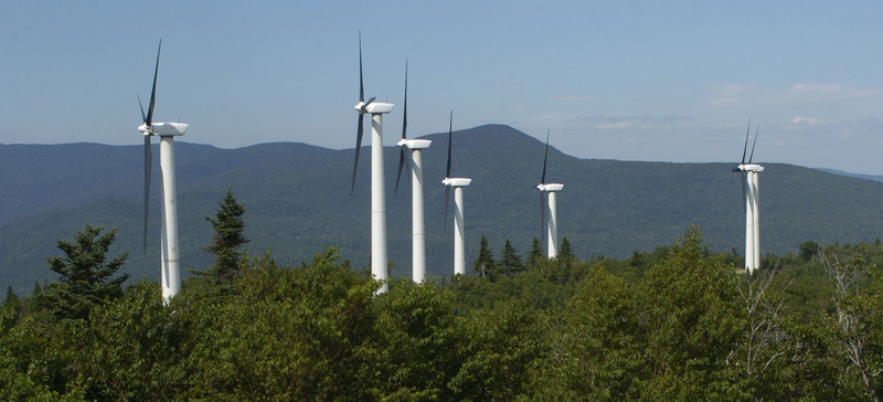 Wind turbines generate power in Searsburg, Vt., in this file photo. Maine's most active wind power developer won't say whether it's talking to Bangor Hydro's parent company as a way to raise capital privately.