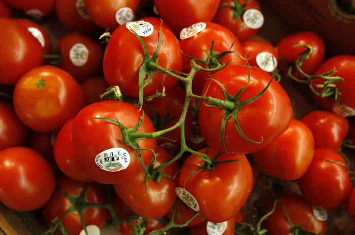 Tomatoes on display today at a Dahl's grocery store in Des Moines, Iowa.
