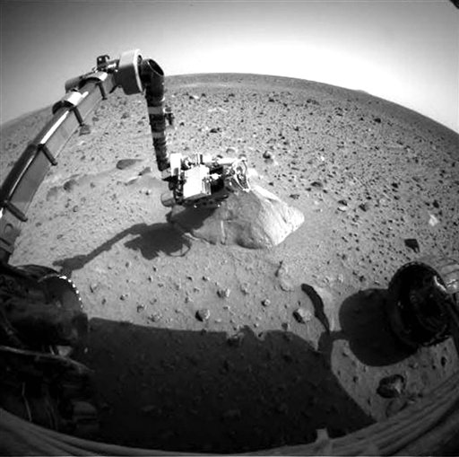 This file photo taken Jan. 28, 2004, shows NASA's Exploration Rover Spirit when communication problems began. The prospect of ever hearing from the stuck Mars rover Spirit is fading after it failed to respond to repeated calls from Earth.