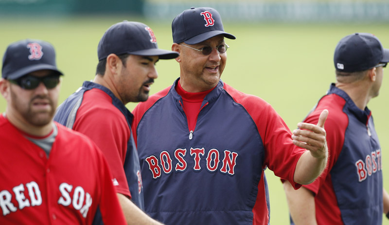 Boston Red Sox manager Terry Francona talks with his players during practice prior to facing theTampa Bay Rays in today. The Red Sox are breaking camp in Florida with one exhibition game in Houston on Wednesday, prior to Thursday's season opener against the Rangers in Texas. From left are Kevin Youkilis, Adrian Gonzalez and Francona.