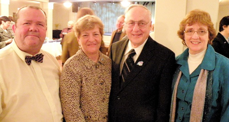 Pictured at the Lewiston reception honoring Franco-American Hall of Fame inductees are, from left: Rep. John Tuttle, inductees Claire Auger and her husband Gilles Auger, and Rep. Andrea Bloand.