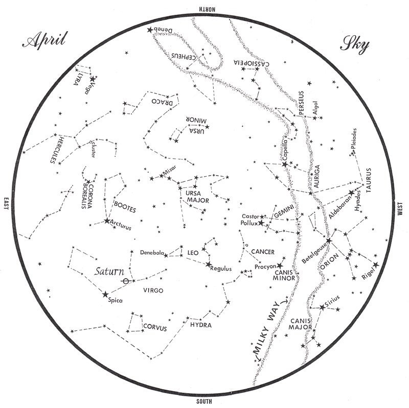 This chart represents the sky as it appears over Maine during April. The stars are shown as they appear at10:30 p.m. early in the month, at 9:30 p.m. at midmonth and at 8:30 p.m. at month's end. Saturn is shown in its midmonth position. To use the map, hold it vertically and turn it so that the direction you are facing is at the bottom.