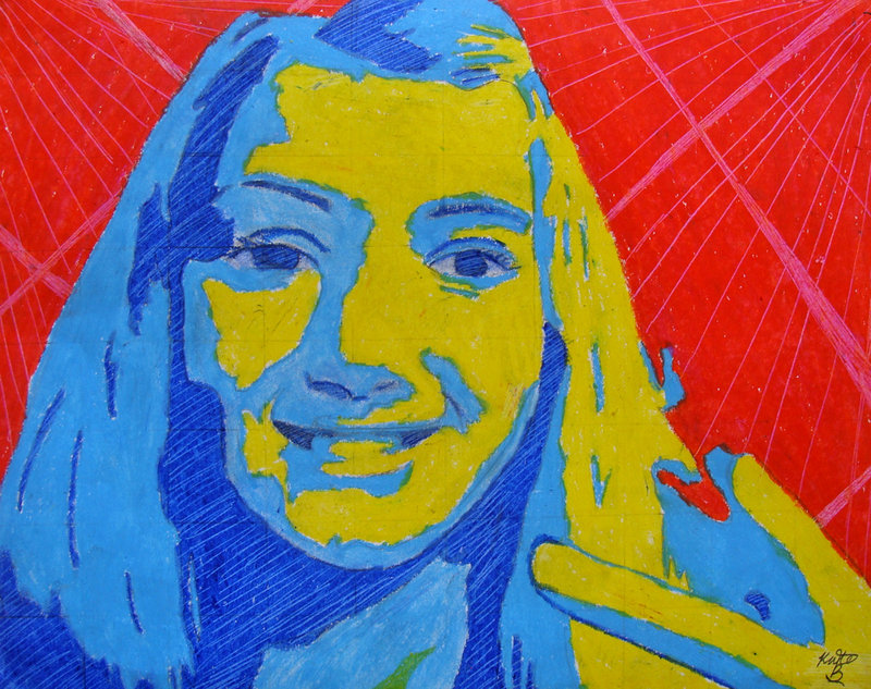 Lyman Moore Middle School student Kate Brewer created a self-portrait done in oil and pastels. It will be on display at PMA through April 3.