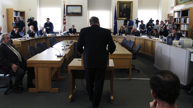 Gov. Paul LePage addresses the Legislature's Appropriations Committee during a hearing Wednesday in Augusta. LePage defended his proposal for a reduction in state pension benefits, saying it is necessary to ensure the program's long-term viability.