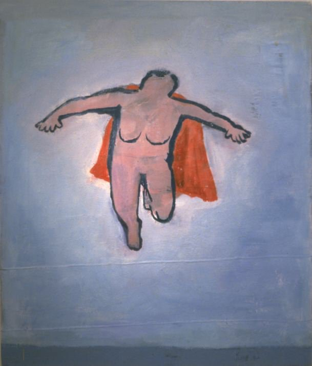 "Katherine Bradford's ""Woman Flying,"" oil on drop cloth canvas, 2000."