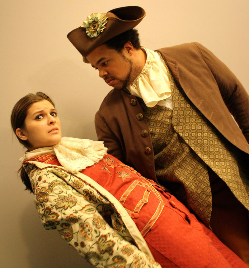 "Rylee Doiron is Princess Leonide and Jeremiah Haley is Prince Agis in the University of Southern Maine production of ""Triumph of Love,"" a musical comedy about a princess who falls in love with her assassin. The show goes on at 5 p.m. today and continues through March 20 at Russell Hall in Gorham."