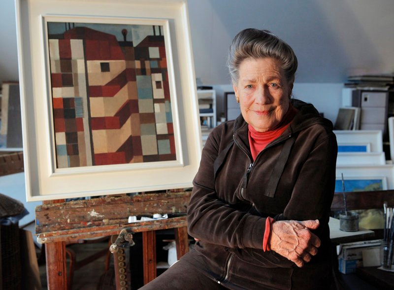 """Jerry Day Mason in her Westport studio. """"I've been through abstract and out the other end,"""" Mason says of the evolution of her style. """"Now I paint what matters to me, which is what's around me."""""""