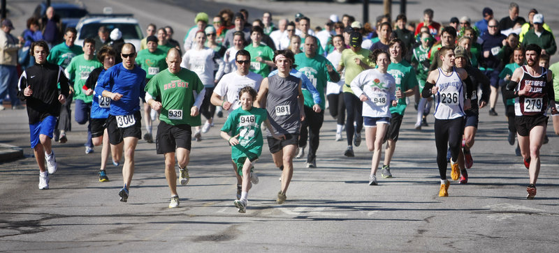 Runners start off in the 5K Shamrock Sprint as part of Bath Blarney Days events in Bath Saturday.