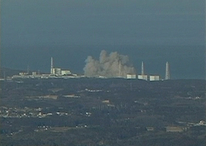 In this video image taken from NTV Japan via APTN, smoke raises from Fukushima Daiichi power plant s Unit 1 in Okumamachi, Japan, on Saturday.