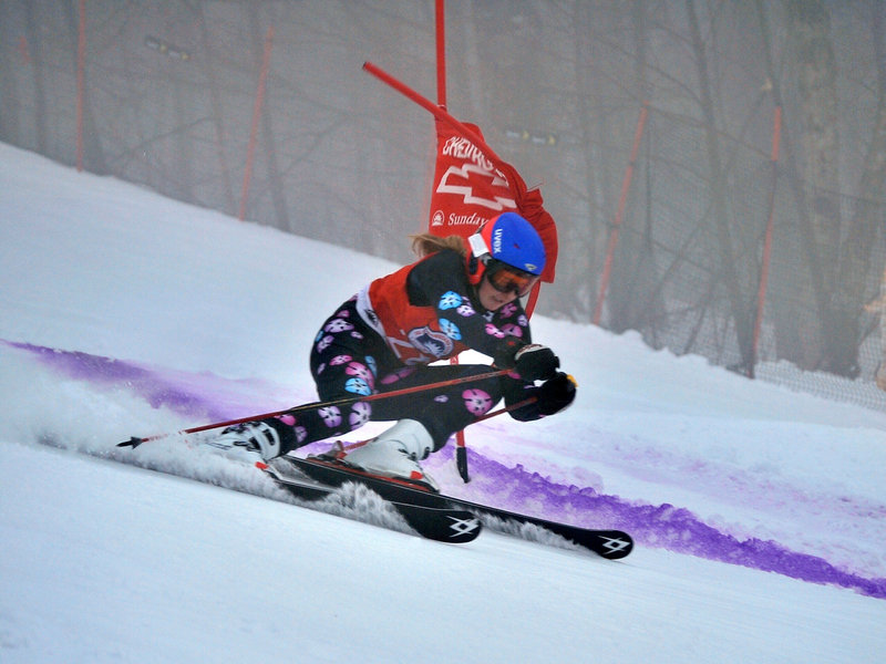 Leika Scott of Falmouth was the top overall finisher in the Eastern J-3 championships at Sunday River. She won the giant slalom and super-G and was third in the slalom.
