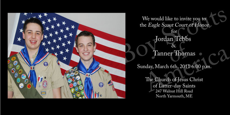 Jordan Tebbs and Tanner Thomas, Boy Scouts in Troop 92, received the Eagle Scout Award on March 6 at the Church of Jesus Christ of Latter-day Saints, North Yarmouth.
