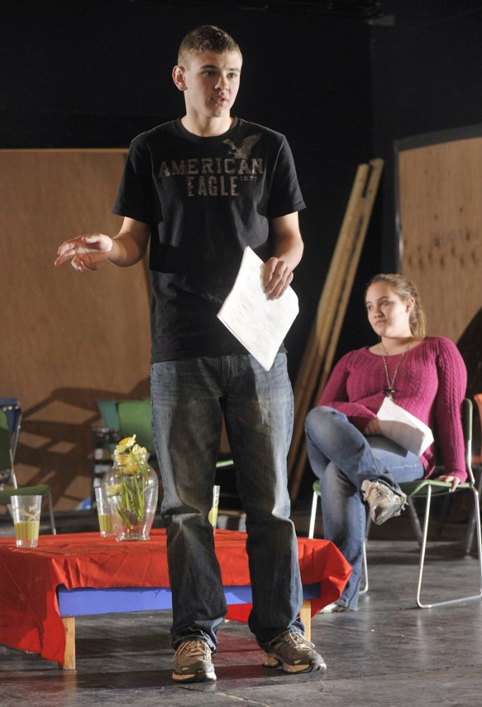 Biddeford High School students Ben Cote and Hilary Lariviere rehearse