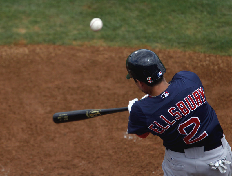 Jacoby Ellsbury of the Red Sox connects on a fourth-inning home run Tuesday during a 2-1 Red Sox victory in 10 innings against the Detroit Tigers at Lakeland, Fla.