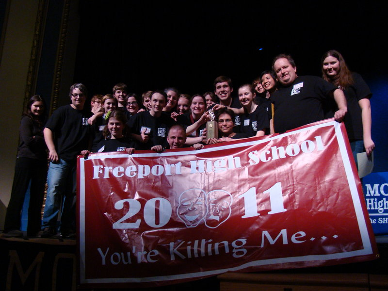 "Freeport High School presents ""You're Killing Me,"" its entry in the State One-Act Drama finals, on Thursday in Freeport."