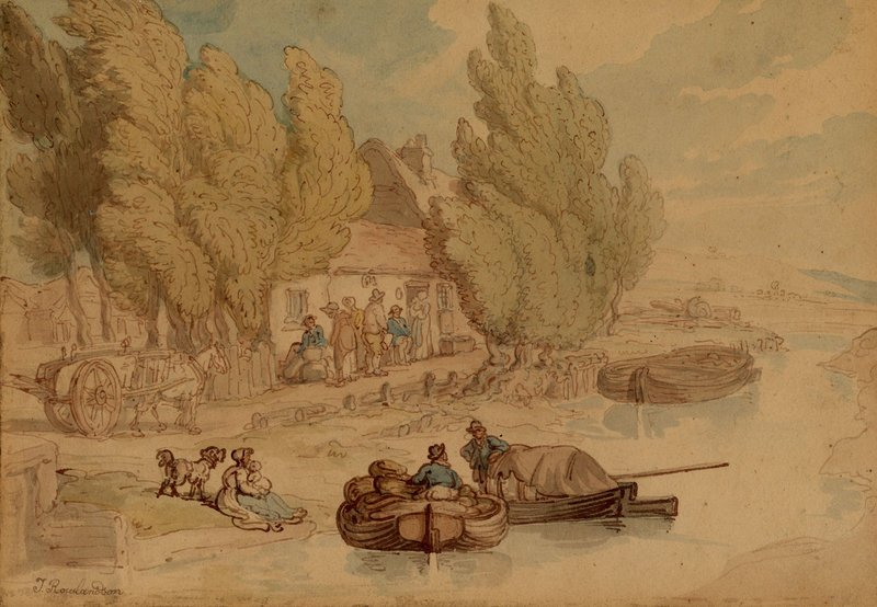 "Thomas Rowlandson's circa 1795 ""Norfolk Broads,"" in watercolor, graphite and ink."