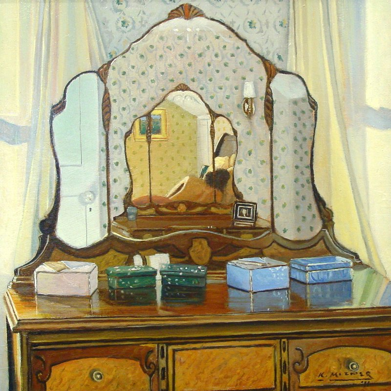 "Kevin Mizner's ""Mirror, Mirror,"" oil on panel."