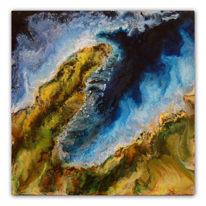 "Rick Green's ""Headland,"" encaustic on panel."