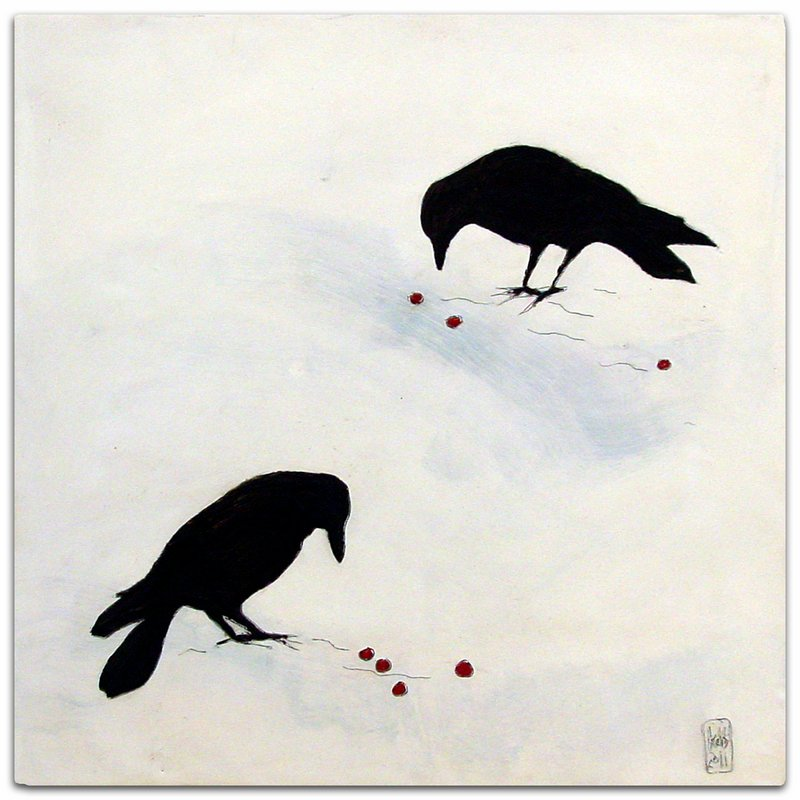 "Crows on Snow,"" encaustic on panel by Karen Dominguez."