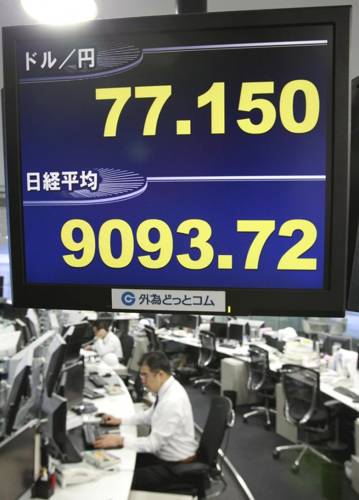 The conversion rate of the U.S. dollar against the Japanese yen is shown on a monitor Thursday in Tokyo.