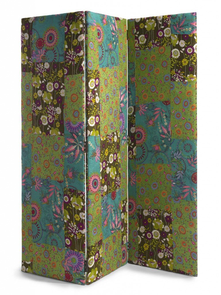 Floral motifs are everywhere – on furniture, textiles, wall art and accessories such as this patchwork room divider.