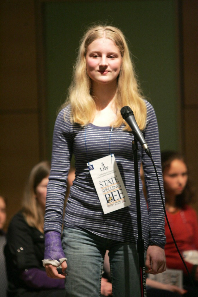 Cape Elizabeth Middle School eighth-grader Lily Jordan became a repeat champion Saturday in the Maine State Spelling Bee. She will represent the state at the national bee in Washington in June.
