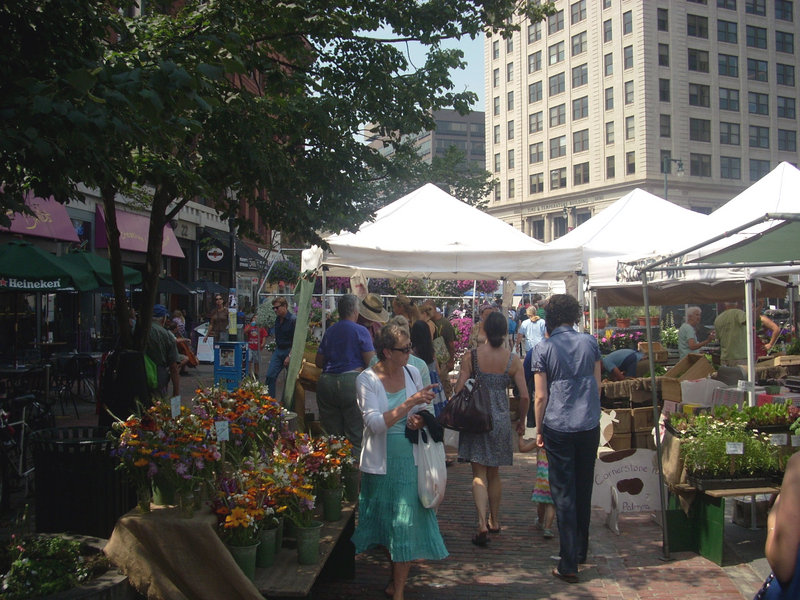 The growing number of shoppers at farmers markets, including this one in Monument Square in Portland, are one way Mainers are supporting small-scale, sustainable farms.