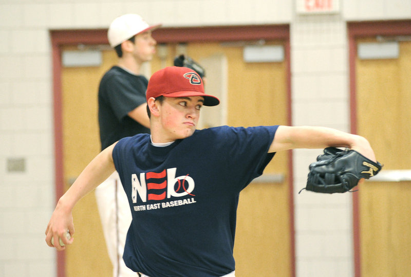 Joe Cronin and his Scarborough teammates met with new coach Mike Coutts on Monday as pitchers and catchers eased into their workouts. Cronin and Ben Wessel, both juniors, and Ryan Mancini, a senior, hope to form the foundation of the Red Storm's pitching staff this spring.