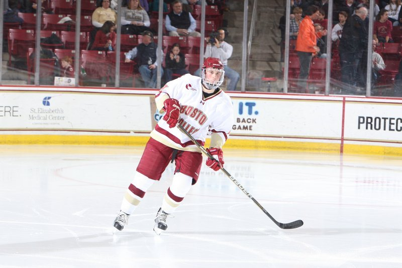 Brian Dumoulin leads Boston College into the NCAA tourney tonight. The Biddeford graduate had 3 goals and 30 assists to lead all Hockey East defenders in scoring this season.