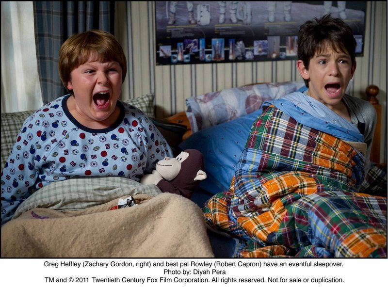 """Greg Heffley (Zachary Gordon, right) and best pal Rowley (Robert Capron) have an eventful sleepover in """"Diary of a Wimpy Kid: Rodrick Rules."""""""