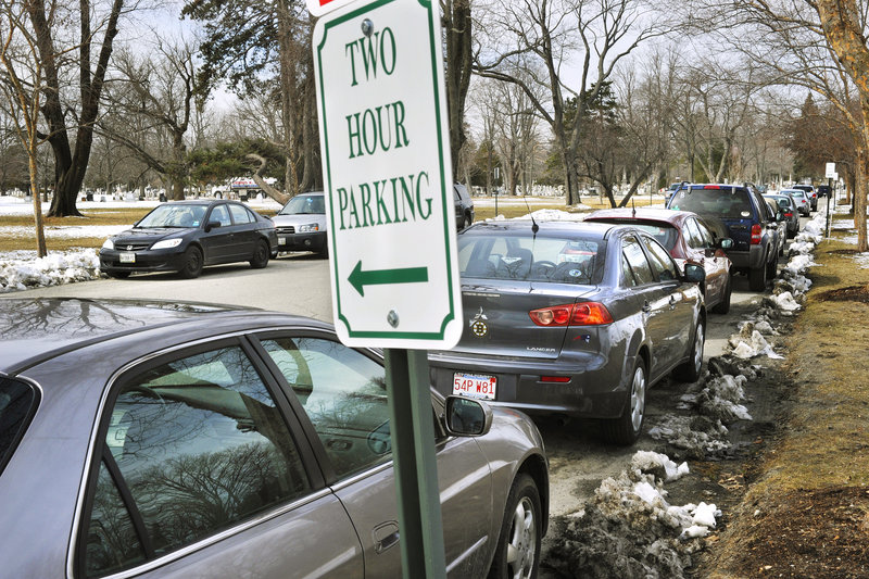 Parking on the entrance road to Evergreen Cemetery is now limited to two hours, and the limit will be enforced, after complaints that UNE students and faculty were using the area.