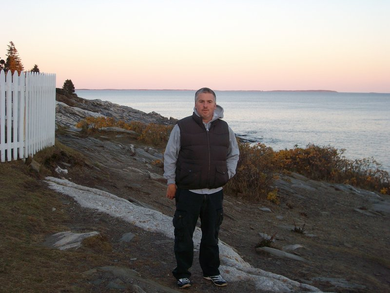 Matt Tushin stands on the shore at the Samoset Resort in Rockport in February 2009.