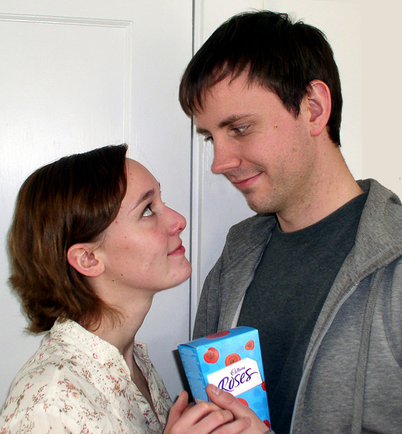 """Shy Irish immigrant Brendan Roche (Michael Dix Thomas) finds his first American girlfriend in Rose (April Singley) in the comedy """"Brendan,"""" presented by the American Irish Repertory Ensemble from Thursday through April 16 at the Studio Theater at Portland Stage Company."""